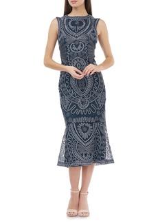 JS Collections Soutache Flare Hem Midi Dress