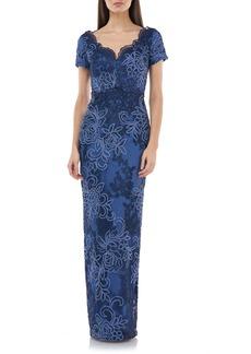 JS Collections Soutache Lace Column Gown