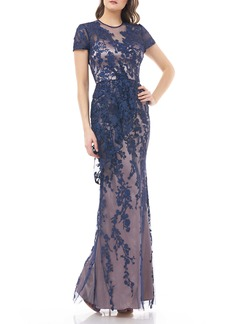 JS Collections Vine Embroidered Tulle Gown
