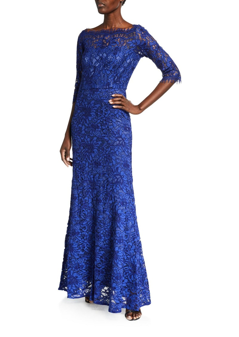 JS Collections Lace Boat-Neck A-Line Gown