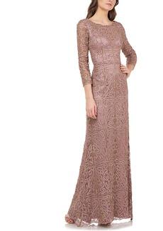 JS Collections Metallic Soutache Evening Dress