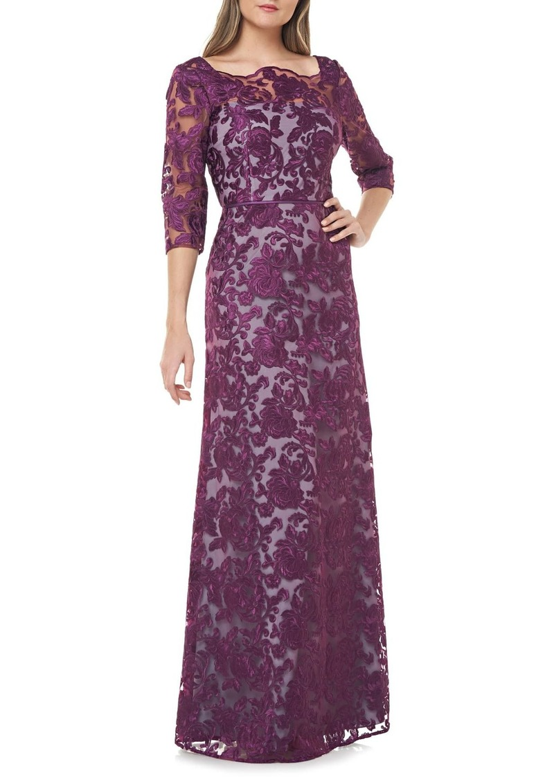 JS Collections Scallop Neck Embroidered Lace Gown
