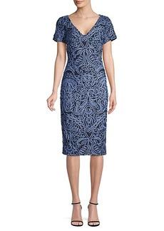 JS Collections Soutache-Trimmed Sheath Dress