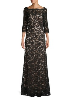 JS Collections Three-Quarter Sleeve Lace Gown
