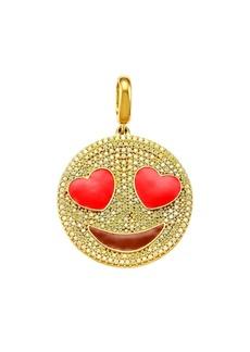 Judith Leiber 14K Goldplated Sterling Silver & Cubic Zirconia Heart Eyes Emoji Charm