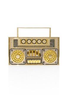 Judith Leiber Boom Box Crystal Clutch Bag - Golden Hardware
