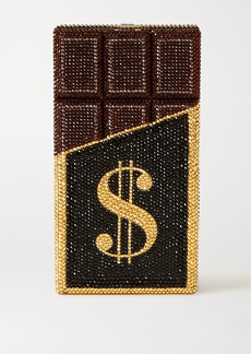 Judith Leiber Candy Bar Rich and Delicious Crystal-embellished Silver-tone Clutch
