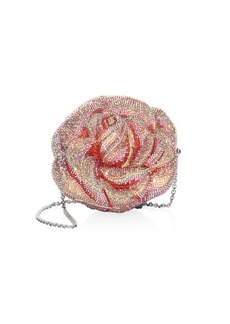 Judith Leiber Crystal Beaded Apricot Rose Evening Bag