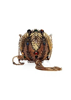 Judith Leiber Crystal-Embellished Golden Sphere Crossbody Bag