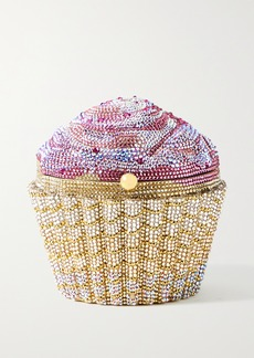 Judith Leiber Cupcake Strawberry Crystal-embellished Gold-tone Clutch