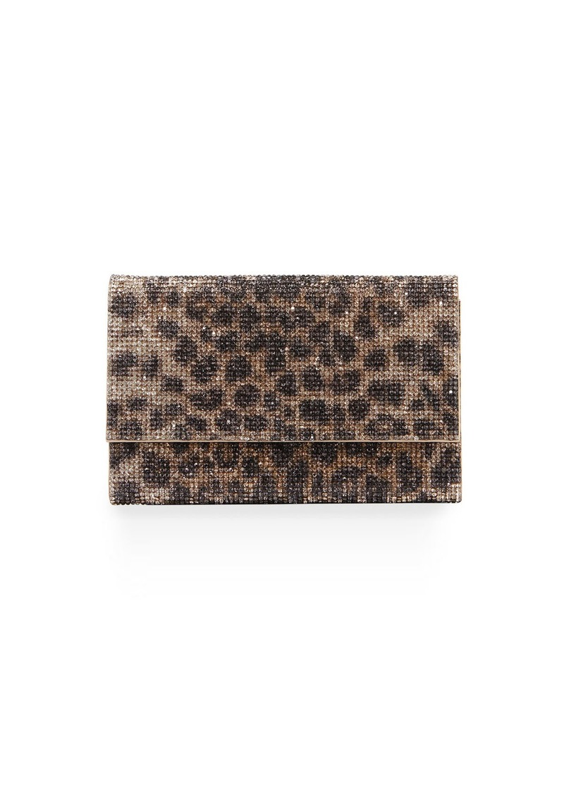 Judith Leiber Fizzoni Leopard Clutch Bag with Crossbody Strap