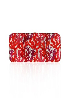 Judith Leiber Coral Crystal Rectangle Clutch Bag