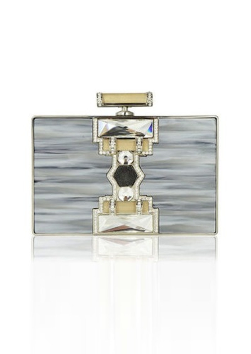 Judith Leiber Couture Ridged Rectangle Marble Resin Clutch Bag