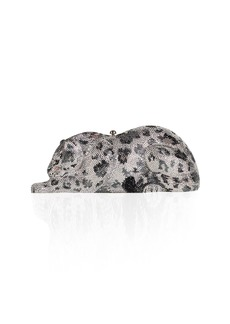 Judith Leiber Wildcat Snow Leopard Crystal-Embellished Evening Clutch Bag