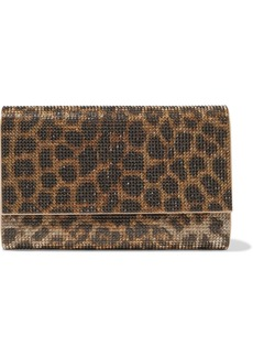 Judith Leiber Woman Crystal-embellished Leopard-print Satin Clutch Animal Print