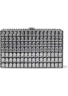 Judith Leiber Woman Crystal-embellished Silver-tone Box Clutch Dark Gray