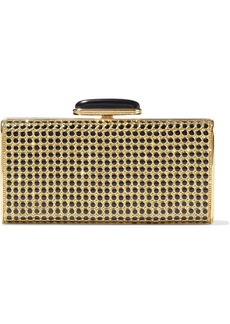 Judith Leiber Woman Enamel And Crystal-embellished Leather Box Clutch Gold