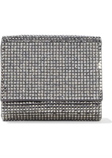 Judith Leiber Woman Micro Fizzy Crystal-embellished Satin Clutch Charcoal