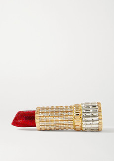 Judith Leiber Lipstick Seductress Crystal-embellished Gold-tone Clutch