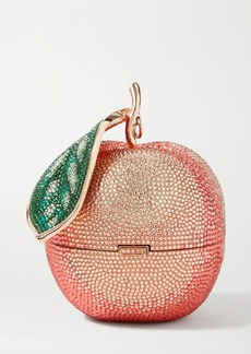 Judith Leiber Peach Crystal-embellished Rose Gold-tone Clutch
