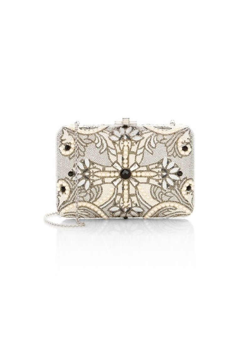Judith Leiber Slim Slide Pearly Cross Crystal Clutch
