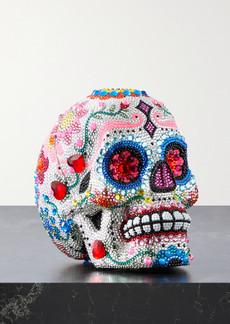 Judith Leiber Skull Calavera Crystal-embellished Silver-tone Clutch
