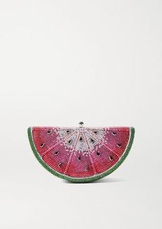 Judith Leiber Slice Watermelon Crystal-embellished Silver-tone Clutch