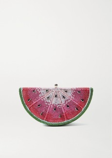 Judith Leiber Slice Watermelon Crystal-embellished Silver-tone Clutch