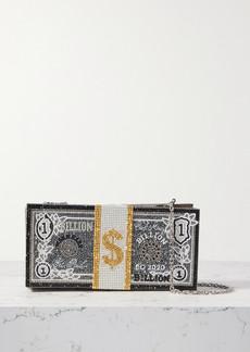 Judith Leiber Stack Of Cash Billions Crystal-embellished Silver-tone Clutch