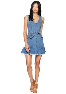 Juicy Couture Denim Tie Waist Peplum Dress