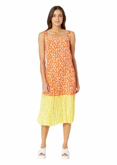 Juicy Couture Ditsy Daisy Print Blocked Pleated Dress