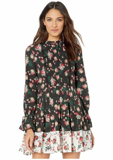 Juicy Couture Faded Floral Print Mix Pleated Dress