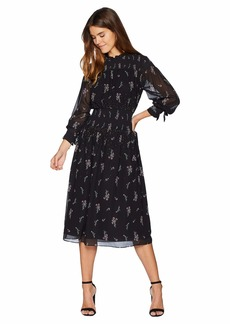Juicy Couture Falling Bouquets Smocked Midi Dress