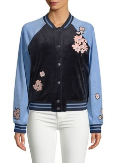Juicy Couture Floral-Patch Velour Bomber Jacket