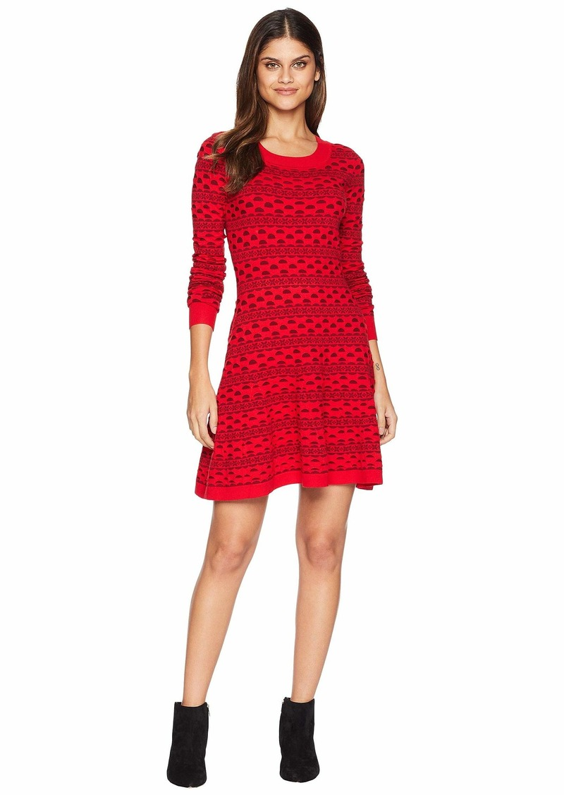 6b515776592 Juicy Couture Floral Stripe Fit-and-Flare Sweater Dress