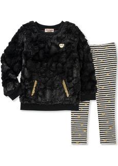 Juicy Couture Baby Faux Fur Pant Sets black pool/egret 12M