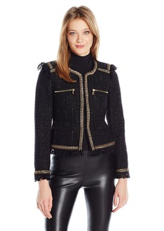 Juicy Couture Black Label Women's Chanel Inspired Jacket with Gold Trimmings  L