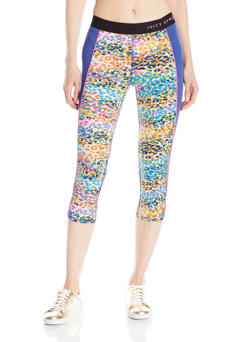 418ce5642bd82 Black Label Women's Compression Crop Leggings Calypso Cheetah/Rio Blue. Juicy  Couture