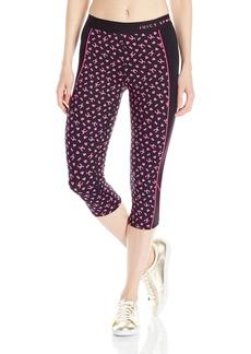 Juicy Couture BLACK LABEL Women's Compression Crop Leggings Plain Black/JC Monogram Print