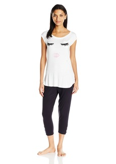 Juicy Couture Black Label Women's Eyelash Jersey Tee and Lurex Logo Easy Fit Slim Pant