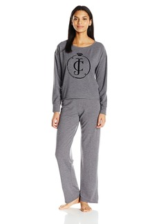 Juicy Couture Black Label Women's Flocked Logo Pullover and Lurex Rib Lounge Pant Set