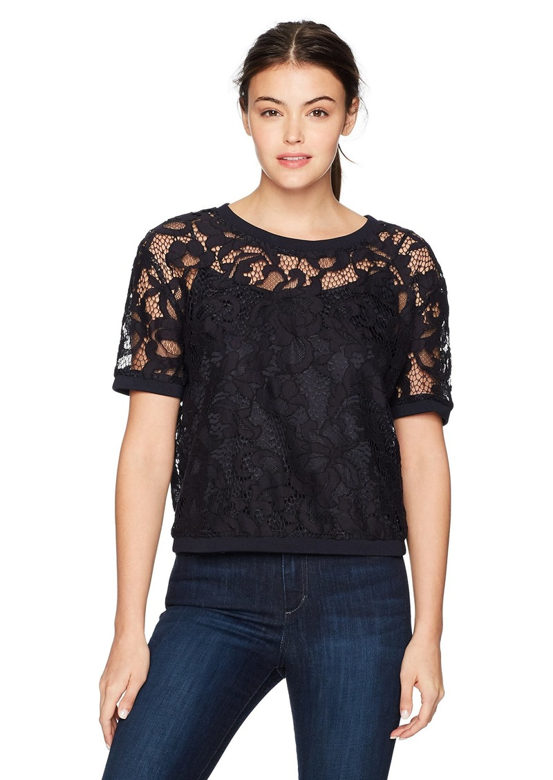 Juicy Couture Black Label Women's Hibiscus Woven Lace Top Zenith XL