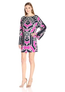 Juicy Couture Black Label Women's Long Printed Shift Dress with Bell Sleeves Regal Avant/Garde Geo M