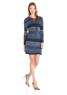 Juicy Couture Black Label Women's Runaway Fringe Lace-Up Jersey Dress