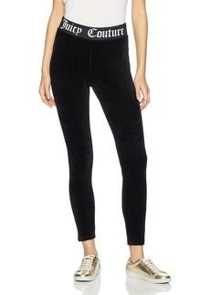 Juicy Couture BLACK LABEL Women's Stretch Velour Legging with Juicy Logo Waistband  XS