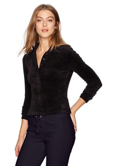 Juicy Couture Black Label Women's Stretch Velour Long Sleeve Polo  S