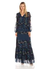 Juicy Couture Black Label Women's Sw Danube Floral Print Mix Maxi Dress Regal Danube Floral_Magar Geo M