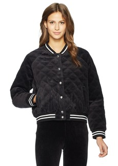 Juicy Couture Black Label Women's Velour Quilted Bomber Jacket Pitch XS