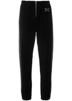 Juicy Couture Swarovski embellished velour track pants - Black
