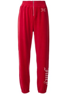 Juicy Couture Swarovski embellished velour track pants - Red